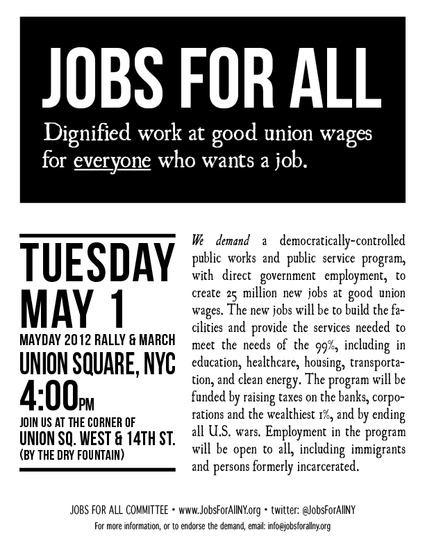 Jobs For All - May Day